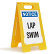 Lap Swim Notice Free-Standing Floor Sign
