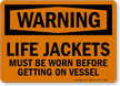 Life Jackets Must Be Worn Warning Sign