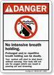 No Intensive Breath Holding Pool Danger Sign