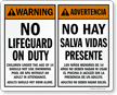 Advertencia No Hay Salva Vidas Presente Bilingual Sign