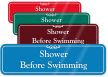 Shower Before Swimming ShowCase Wall Sign