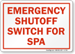 Emergency Shutoff Switch For Spa Sign
