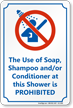 Soap, Shampoo Use in Shower Prohibited Sign