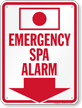 Emergency Spa Alarm Sign (with Arrow)