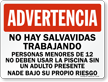 Spanish No Lifeguard, Use Adult Supervision Sign