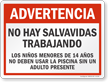 Spanish Warning No Lifeguard on Duty Sign