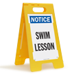 Swim Lesson Standing Floor Notice Sign