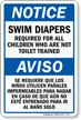 Bilingual Swim Diapers Required For All Children Sign