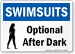 Swimsuits Optional After Dark Pool / Spa Sign