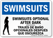 Bilingual Swimsuits Optional After Dark Sign