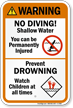 Warning No Diving Sign