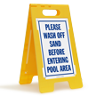 Wash Off Sand Before Entering Pool Sign