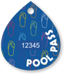 Pool Pass In Water Drop Shape, Colorful Sandals