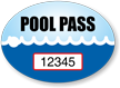 Pool Pass In Oval Shape, Waves Print