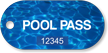 Pool Pass Deep Blue Tag, Rounded Rectangular