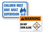 Adult Supervision Pool Safety Signs