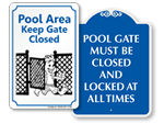 Keep Pool Gate Closed Signs