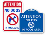 No Dogs in Pool Area Signs