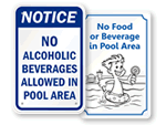 No Food or Drink in Pool Area Signs