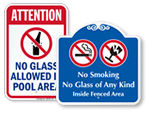 No Glass Allowed In Pool Area Signs