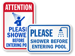 Shower Before Entering Pool Signs