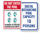 Social Distancing Pool Signs