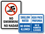 Bilingual Pool Safety Signs