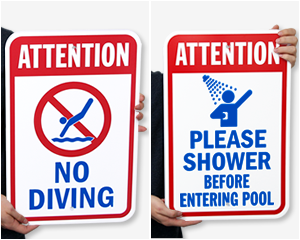 Swimming Pool Safety Signs | Pool Emergency 911 Signs
