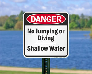 Danger shallow water sign