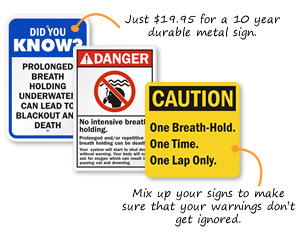 No breath holding custom signs
