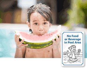 No Food or Drink in Pool Signs