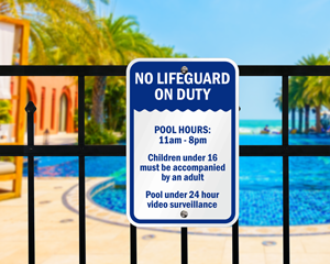 No lifeguard sign