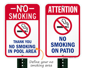 No smoking signs for pool