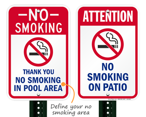 No smoking signs for pool