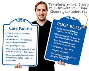 Custom pool signs