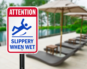 Slippery when wet pool deck warning sign
