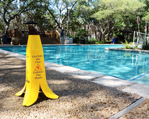 Slippery when wet sign for pools