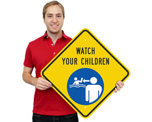 Watch Your Children at Pool Sign