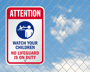 Watch Your Children at Pool Signs