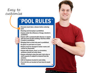 Your customized pool rules sign