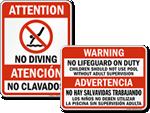 Bilingual Pool Signs
