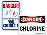 Chlorine Hazard Pool Signs