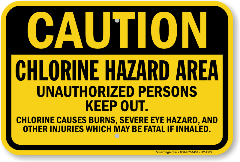 New jersey chlorine hazard pool sign sku k2 4522 - Dangers of chlorine in swimming pools ...