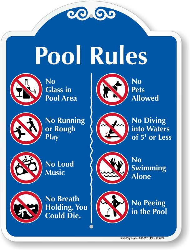 pool rules signs free shipping