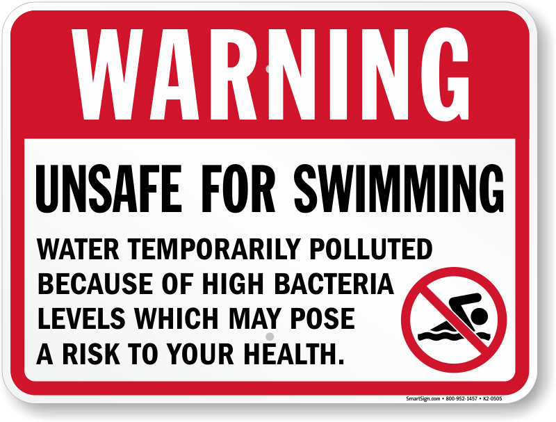 Warning Unsafe For Swimming Pool Sign Sku K2 0505