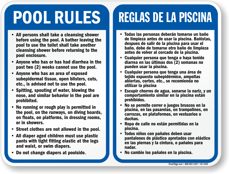 Bilingual Pool Rules Shower Before Entering Sign Sku S2 1420