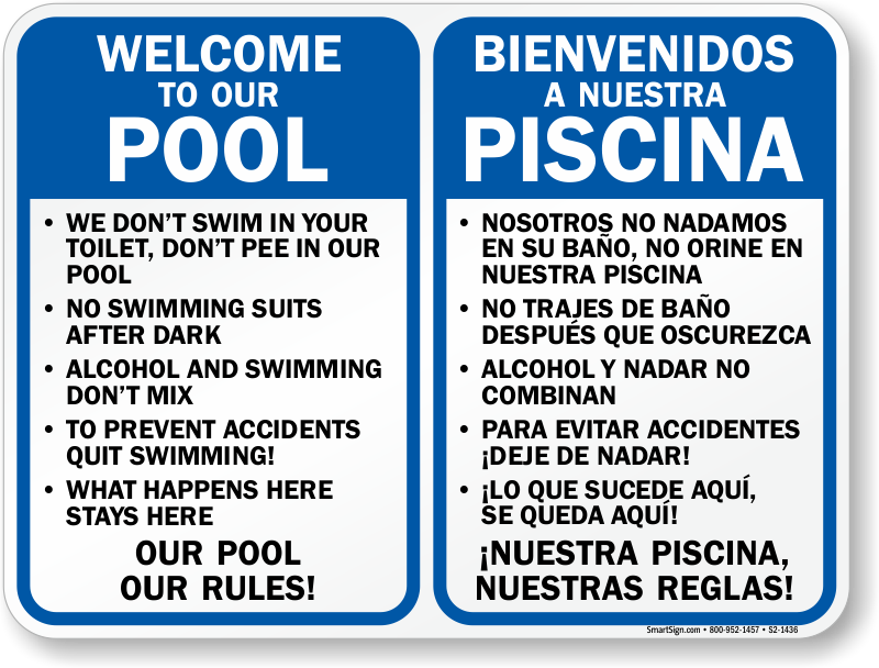 Bilingual private pool area rules sign sku s2 1436 for Pool design rules