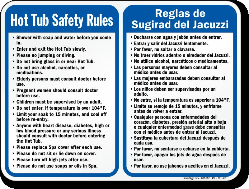 Bilingual Spa Hot Tub Safety Rules Sign, SKU: S2-1410