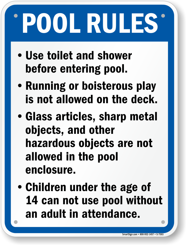 California Swimming Pool Signs