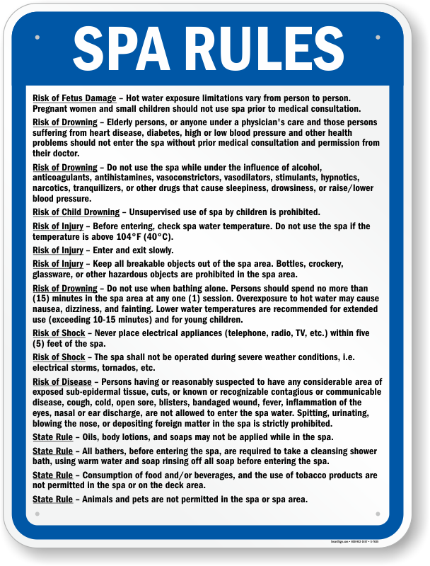 Colorado Spa Rules And Regulations Sign Sku S 7635